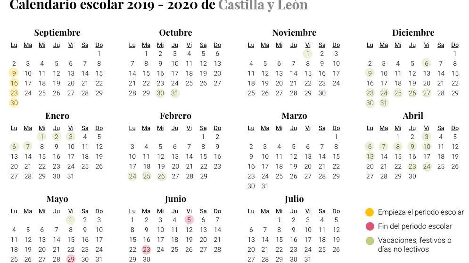 Calendario Escolar 2019 2020 Para Castilla Y León