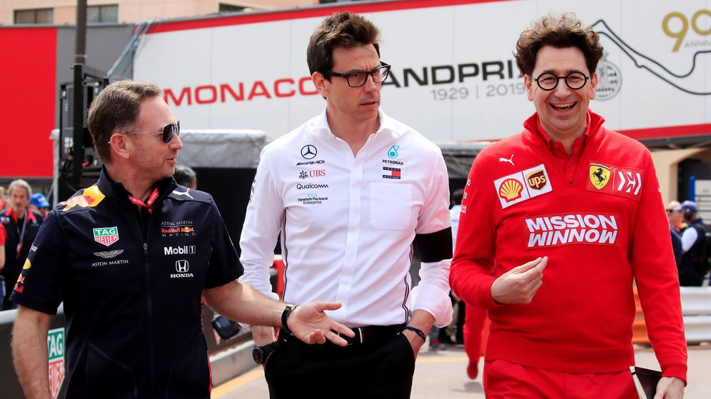 Foto: Horner, Wolff y Binotto, jefes de Red Bull, Mercedes y Ferrari. (Reuters)
