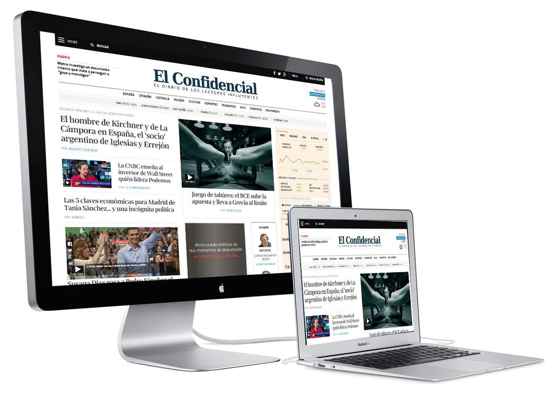 Foto: Los dos formatos de portada de El Confidencial, según la resolución del dispositivo