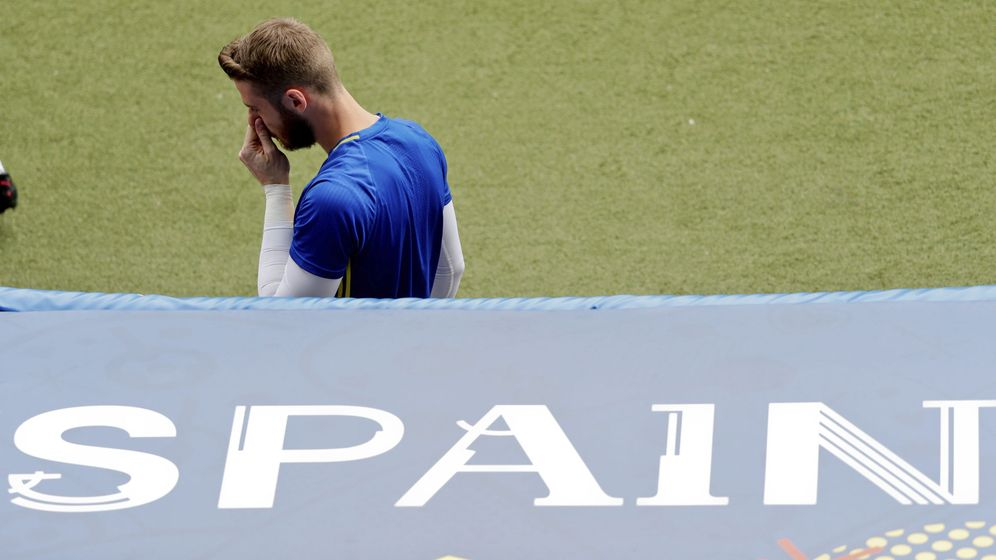 Foto: David de Gea, durante el entrenamiento de España en el estadio Municipal de Toulose. (EFE)