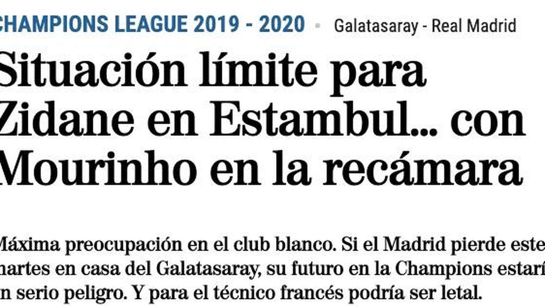 Noticia publicada en 'El Mundo' tras la derrota del Madrid en Mallorca.