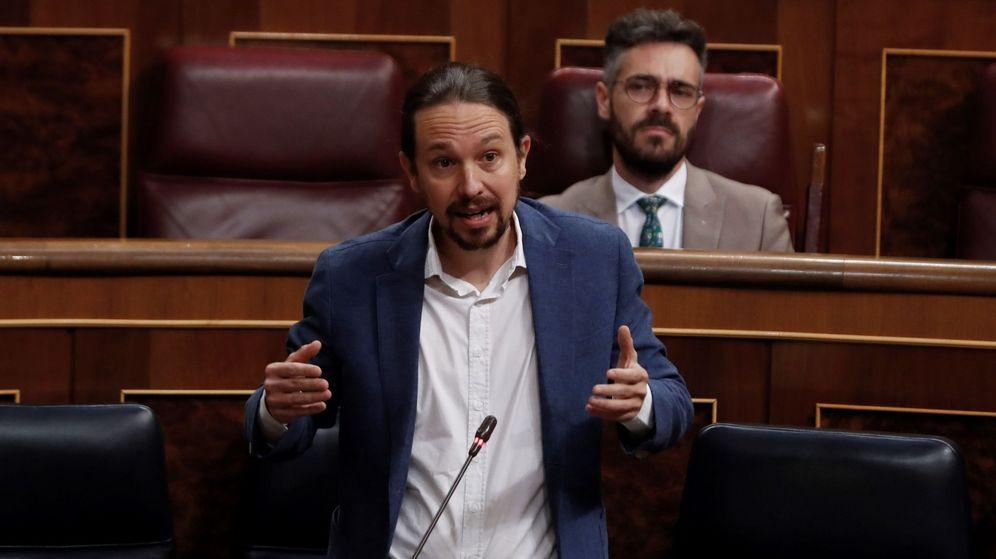 Foto: El vicepresidente segundo del Gobierno, Pablo Iglesias, durante su intervención en la primera sesión de control al Ejecutivo en el Congreso tras el fin del estado de alarma. (EFE)
