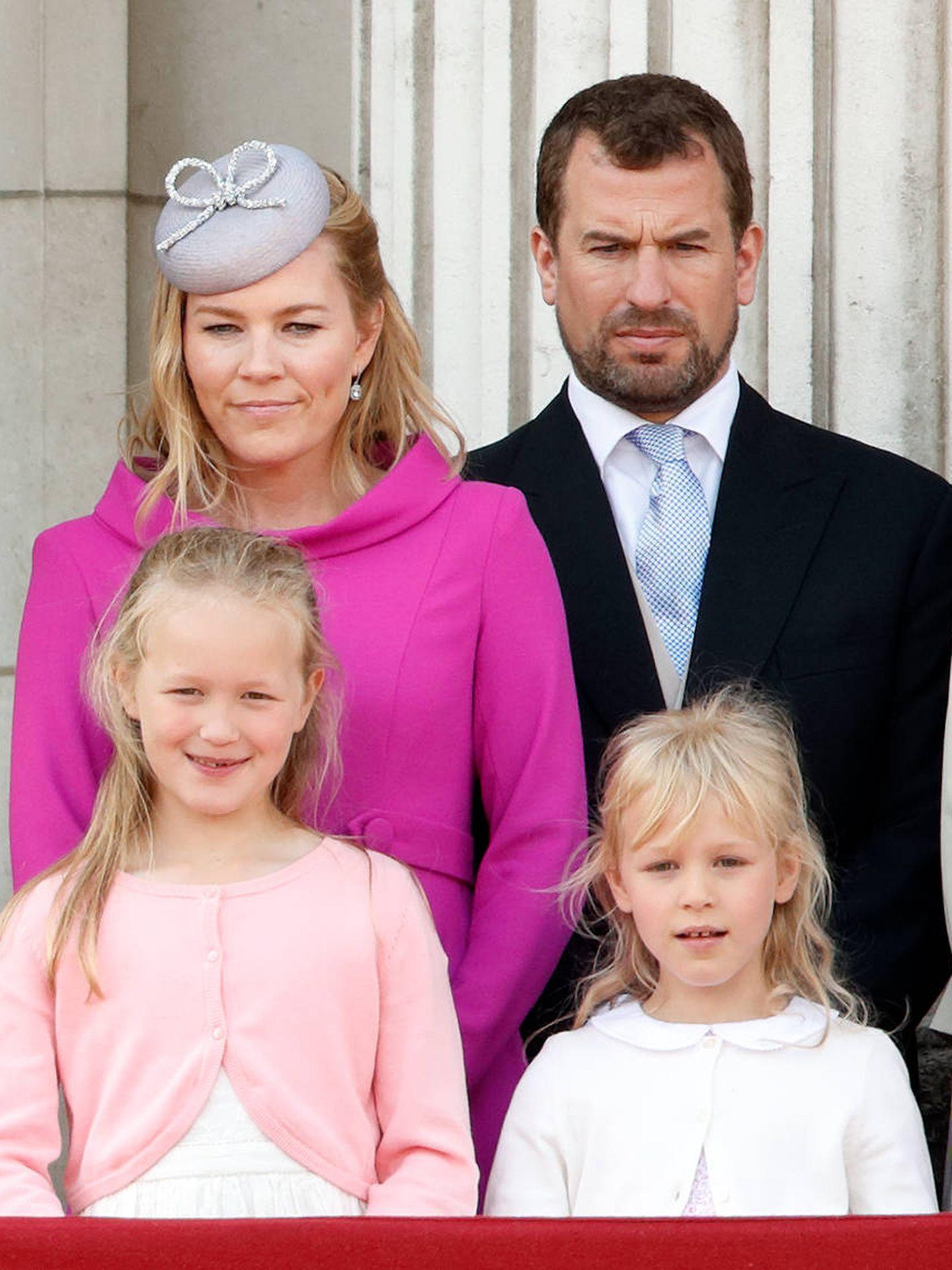 Autumn y Phillips, con sus hijas durante el Trooping the Colour. (Getty)