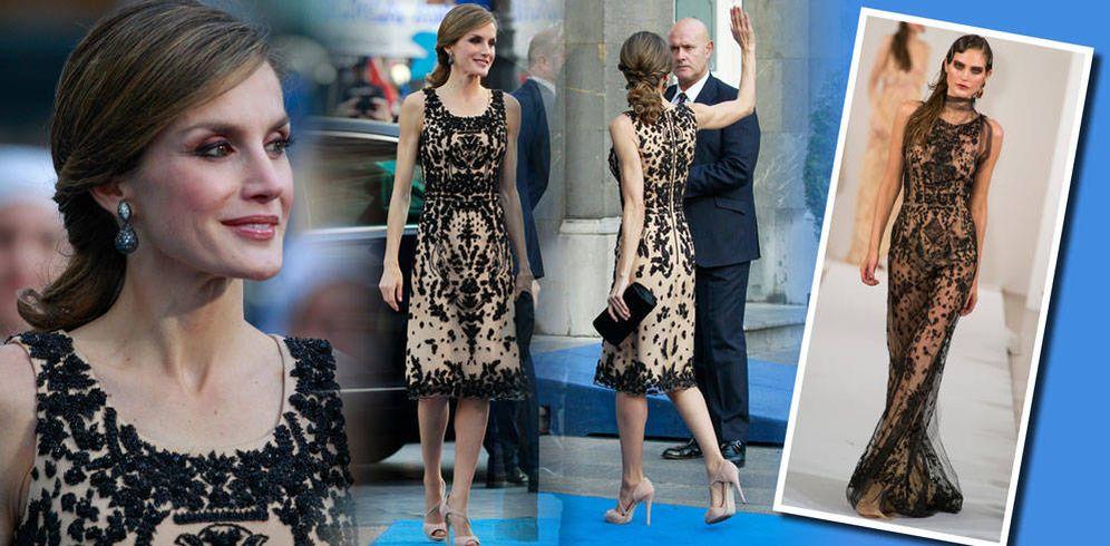 Foto: La Reina con su vestido de Varela y el de Óscar de la Renta