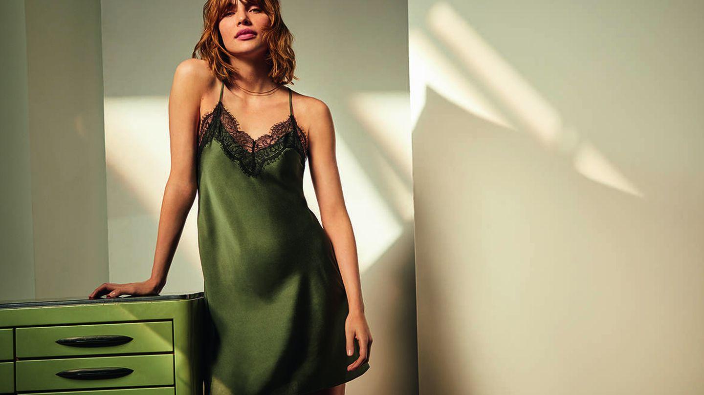 Camisón verde de la nueva colección de Etam. (Cortesía)
