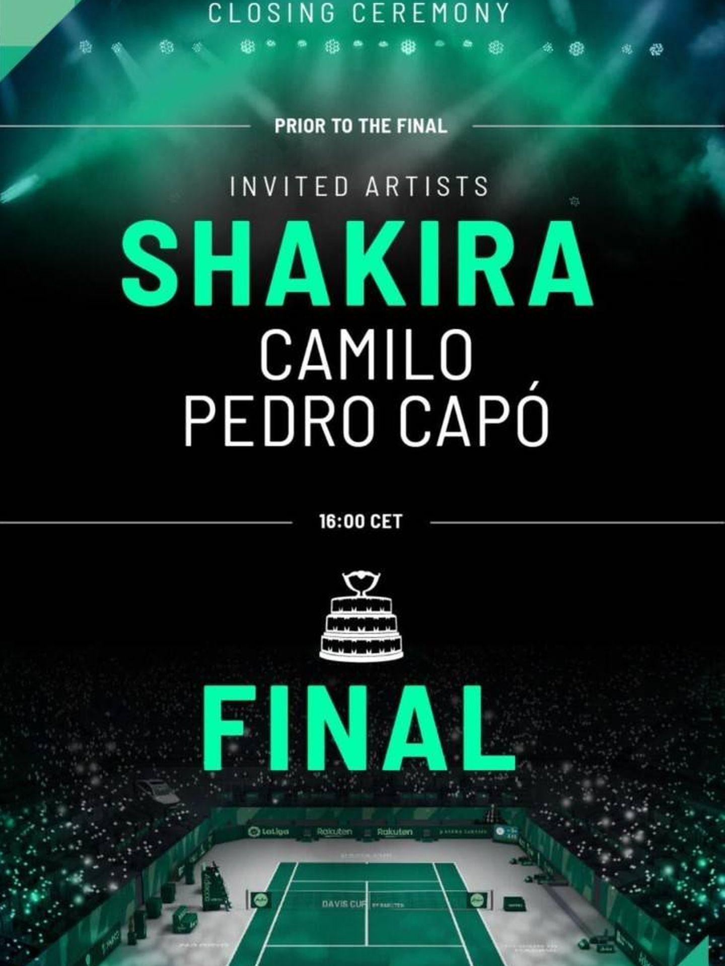 Anuncio de la actuación de Shakira, en la cuenta de Instagram de Piqué.