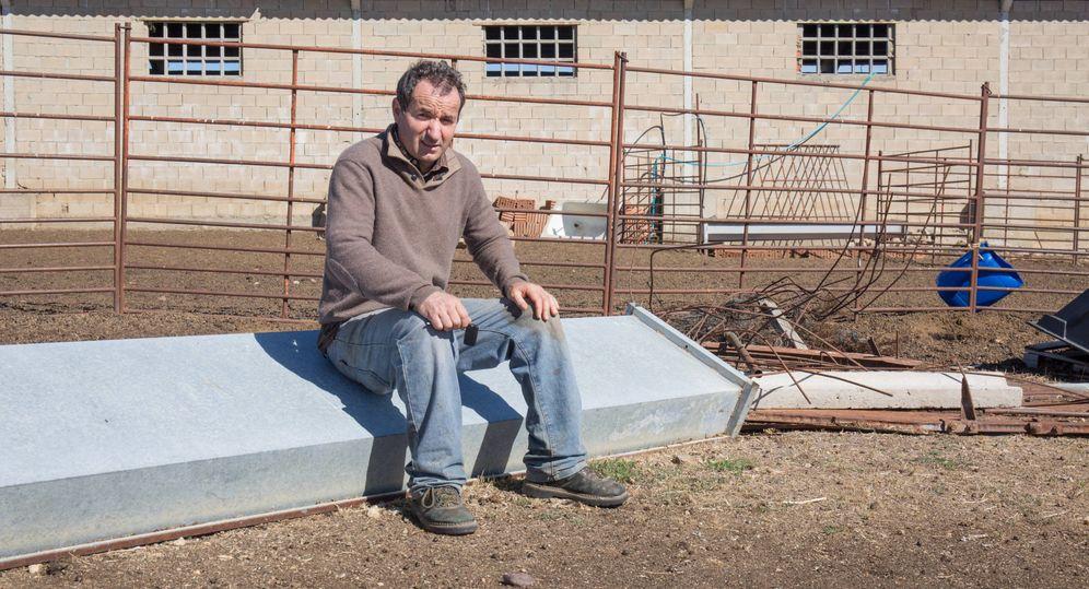Foto: Rafael Lobato, ganadero y exalcalde de Peque (Zamora), en su explotación ovina. (David Brunat)