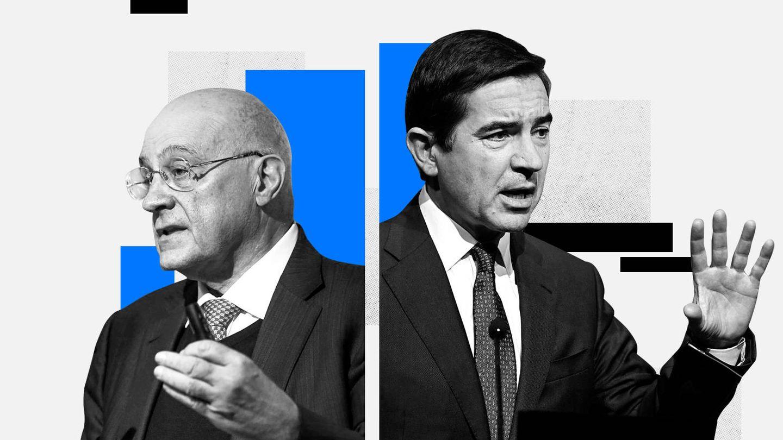 Josep Oliu (i), presidente de Banco Sabadell, y Carlos Torres, de BBVA. (EC)
