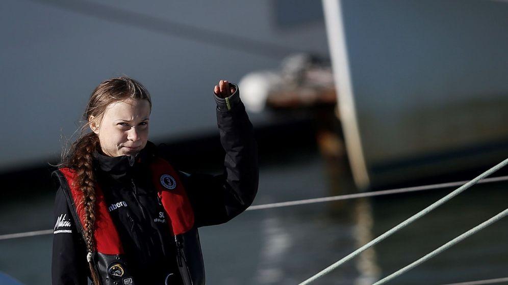 Foto: La activista sueca Greta Thunberg, a su llegada al puerto de Lisboa. (Reuters)