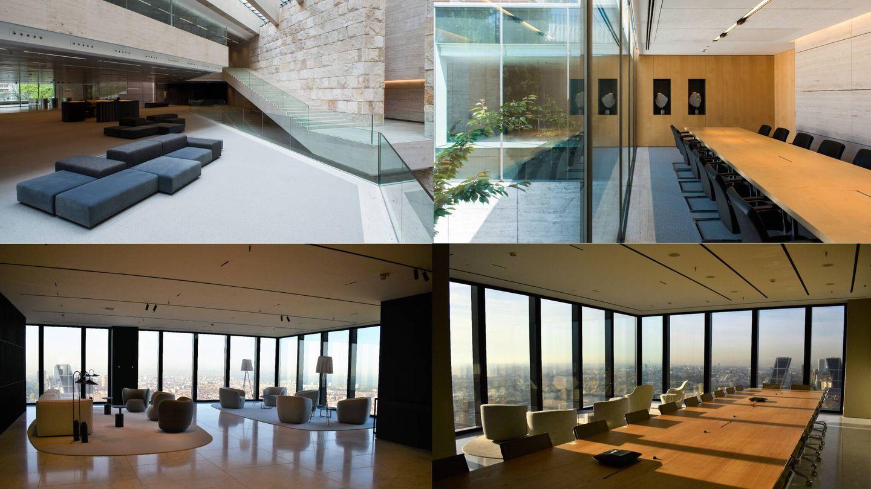 Recepción y salas de reuniones de la sede de Pérez Llorca en Castellana 50 (arriba) y en Torre Foster (abajo).