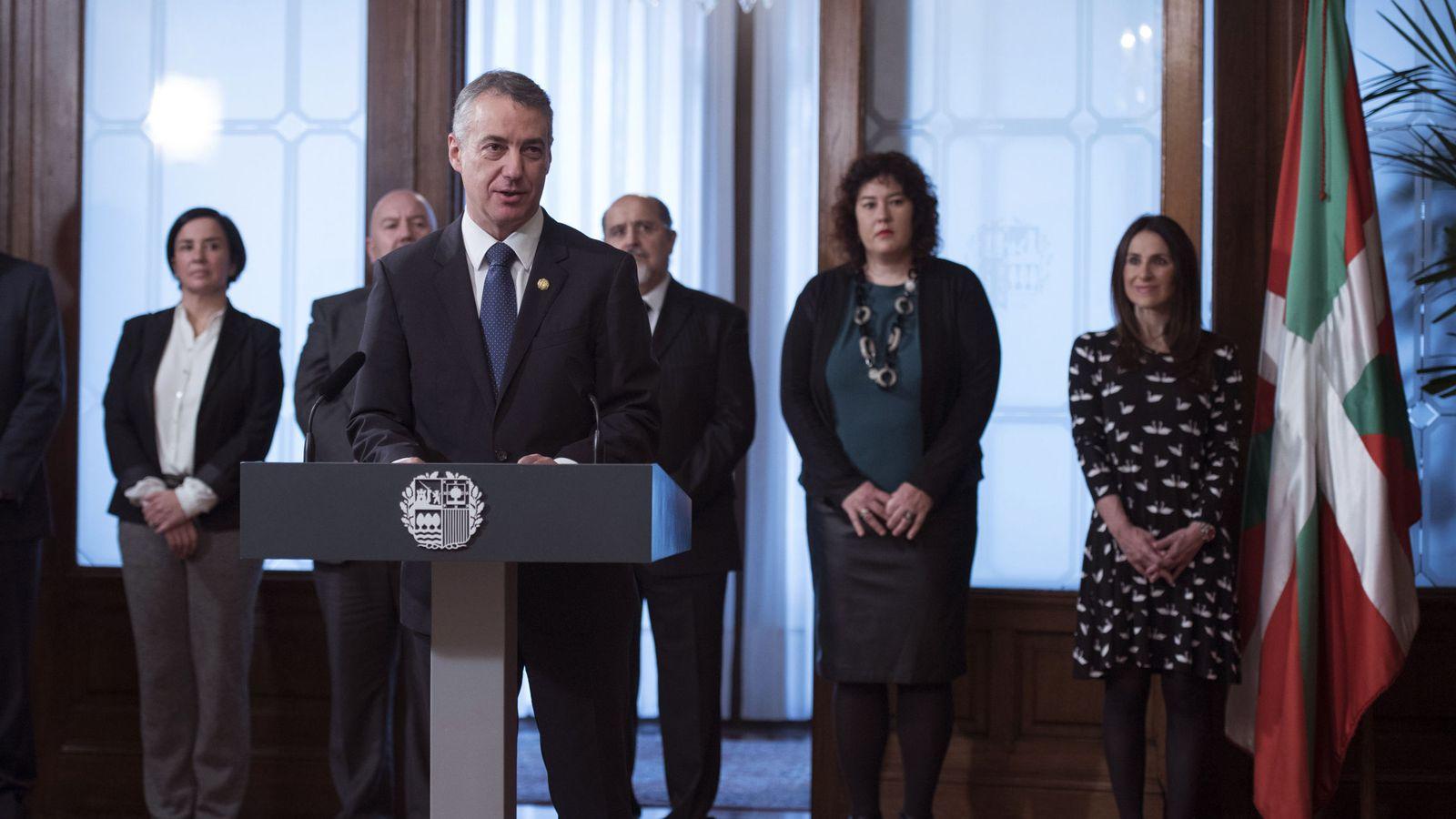 Foto: El lendakari, Iñigo Urkullu, durante su intervención en el acto de toma de posesión de los consejeros del Gobierno vasco. (EFE)