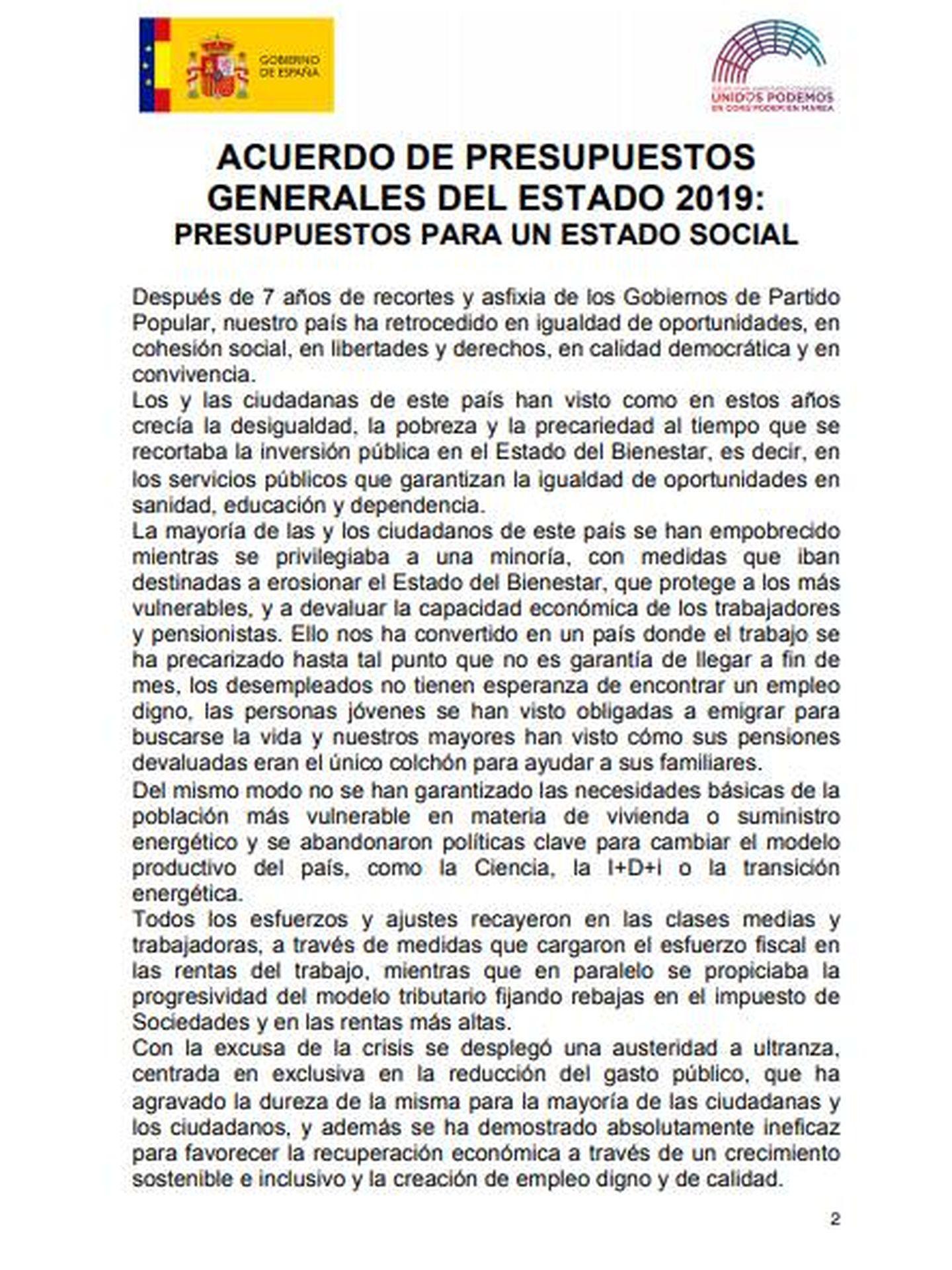 El acuerdo para los PGE firmado por Sánchez e Iglesias