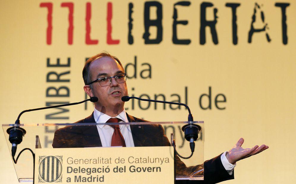 Foto: Jordi Turull, 'conseller' de Presidencia y portavoz del Govern, este miércoles en el centro cultural Blanquerna de Madrid. (EFE)