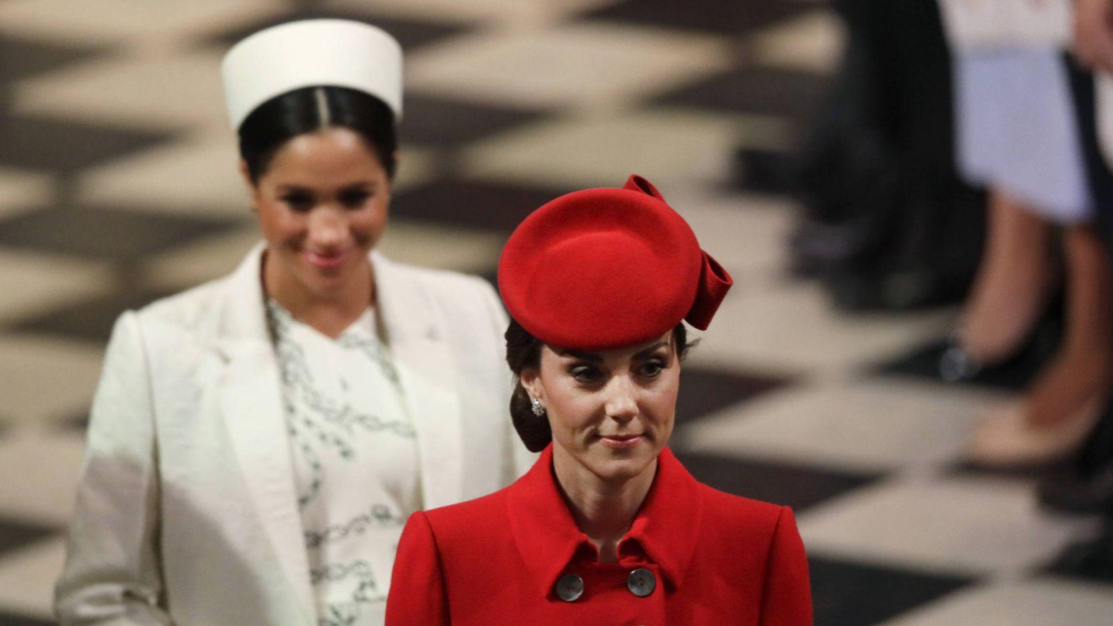 Foto: Kate Middleton y Meghan Markle, en el Día de la Commonwealth. (Getty)