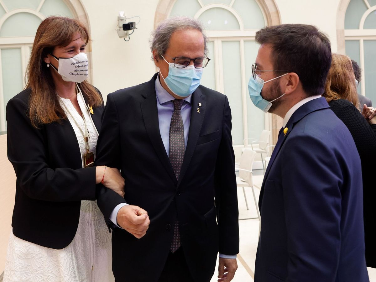 Foto: Laura Borràs, junto a Torra y Aragonès. (EFE)
