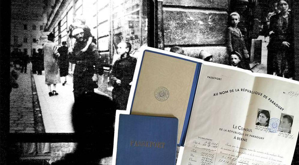 Foto: Una imagen del gueto de Varsovia con pasaportes falsos paraguayos utilizados por la red clandestina. (EC)