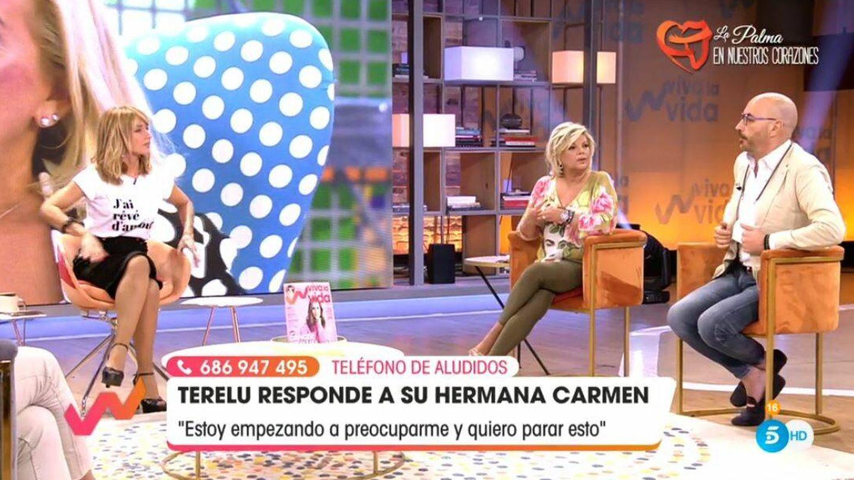 Emma García, Terelu y Diego Arrabal, en 'Viva la vida'. (Mediaset España)