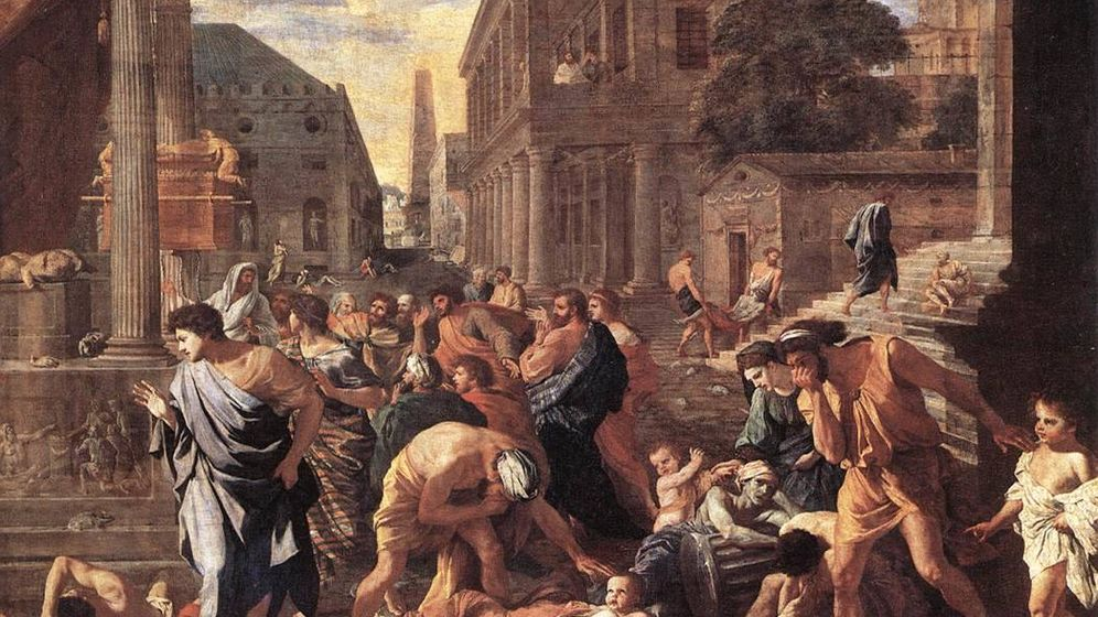 Foto: La plaga de Justiniano, en el 541, fue uno de los efectos de una erupción de un volcán en el 536 (Nicolas Poussin)