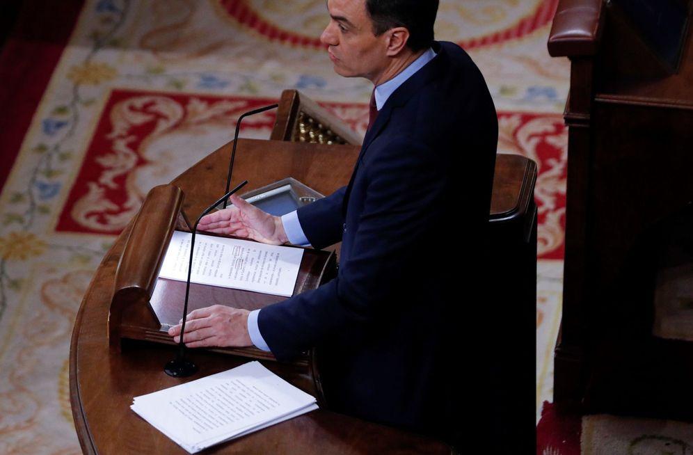 Foto: Pedro Sánchez, durante su intervención en el pleno de este 6 de mayo en el Congreso. (EFE)