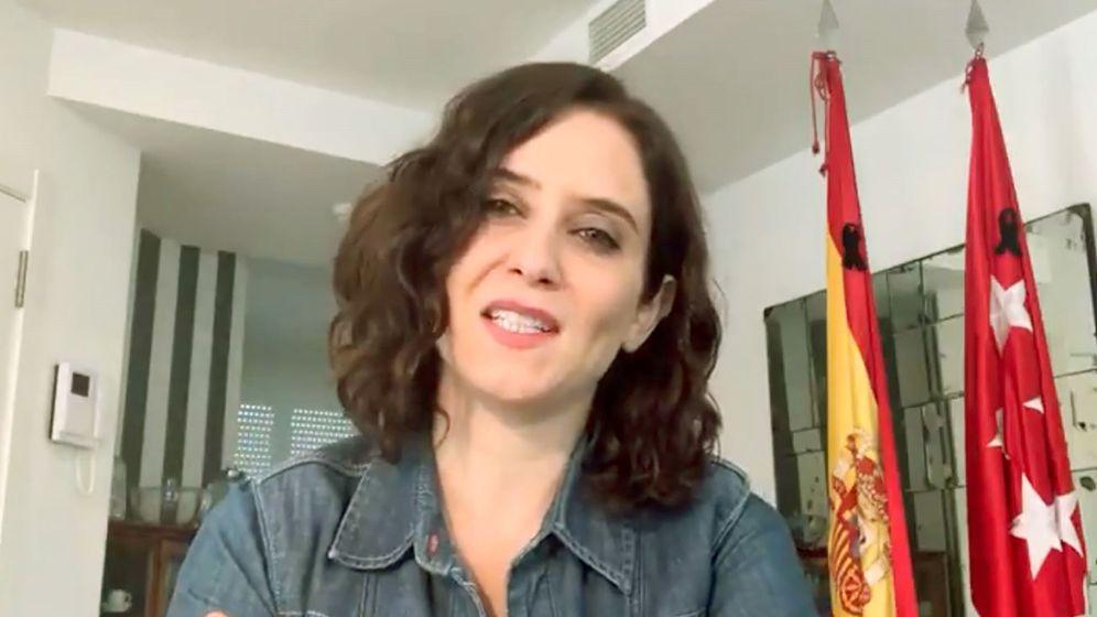 Foto: Captura de vídeo de la cuenta oficial de Twitter de la presidenta de la Comunidad de Madrid, Isabel Díaz Ayuso. (EFE)