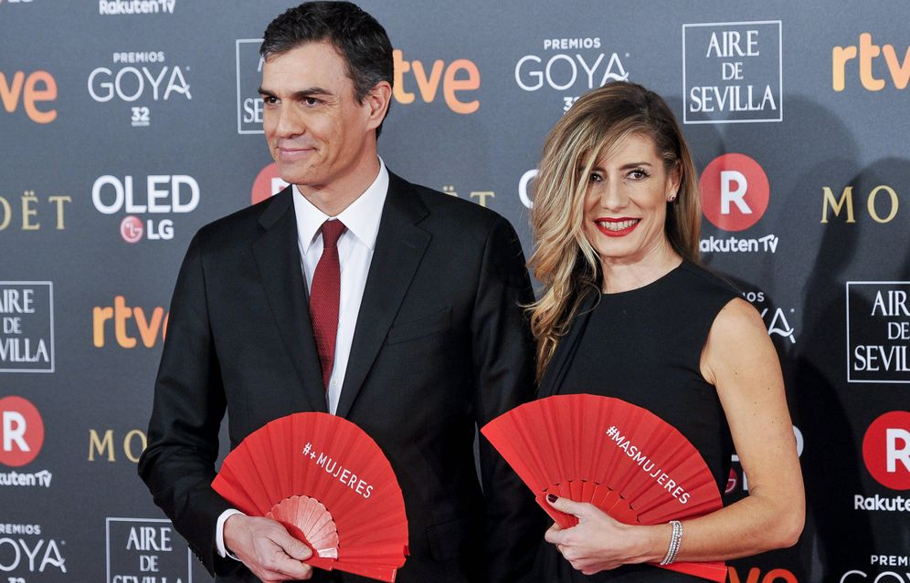 Foto: Begoña Gómez y Pedro Sánchez, en la última edición de los Premios Goya. (Getty)