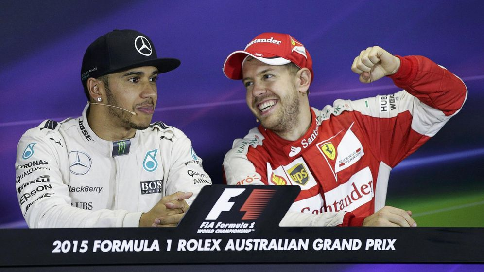 Foto: Hamilton y Vettel en la rueda de prensa posterior al GP de Australia (Reuters).