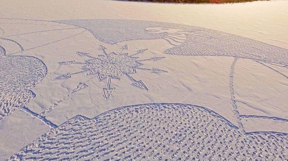 Foto: Así es el dragón de nieve siberiano (Facebook/Simon Beck)