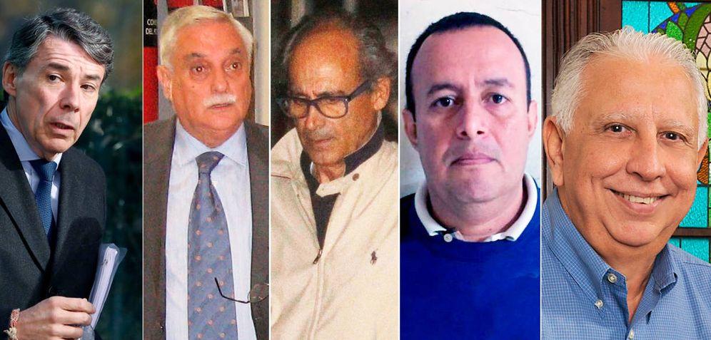 Foto: Ignacio González, Luis Vicente Moro, Edmundo Rodríguez, Diego Arias y Ramón Navarro. Los cinco acusados de cobrar comisiones por la compra de Emissao