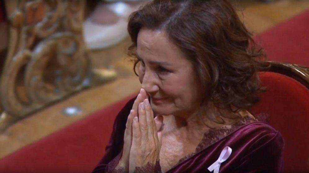 Foto: Paloma Rocasolano, entre lágrimas. (Youtube Casa Real)