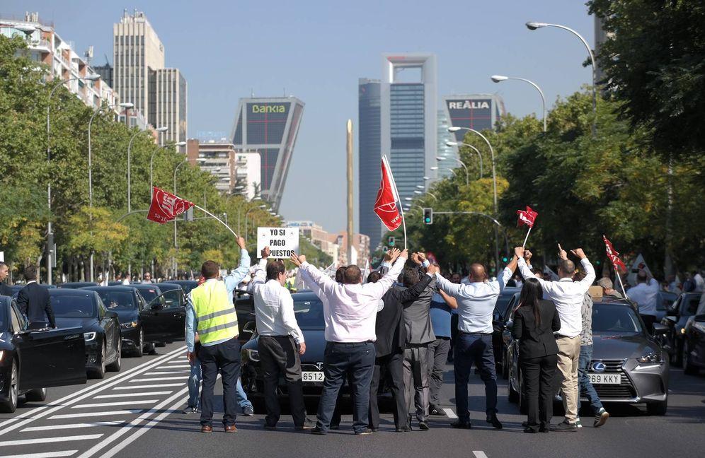 Foto: Un momento de la marcha de las VTC. (M.M.C)