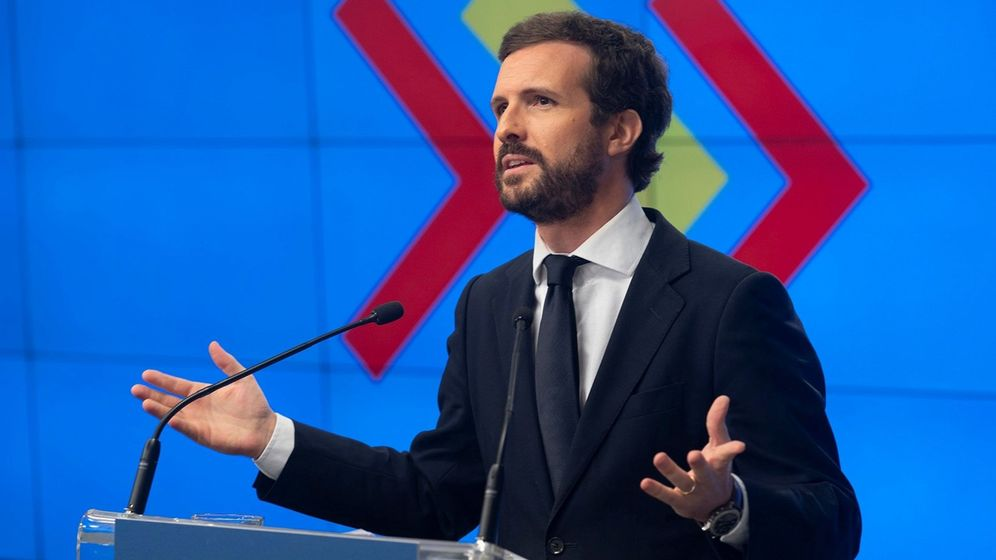 Foto: El presidente del PP, Pablo Casado, en la Junta Directiva Nacional de este lunes. (EFE)