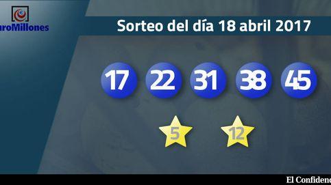 Resultados del sorteo del Euromillones del 18 de abril de 2017: números 17, 22, 31, 38, 45