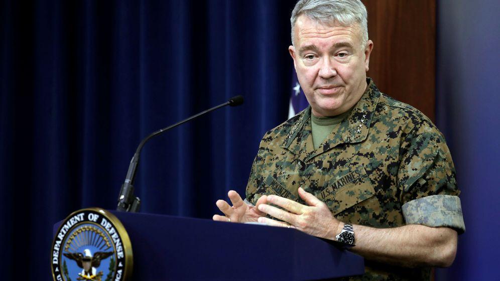 Foto: El general Kenneth McKenzie, en una rueda sobre los ataques contra tropas de EEUU en Irak. (Reuters)