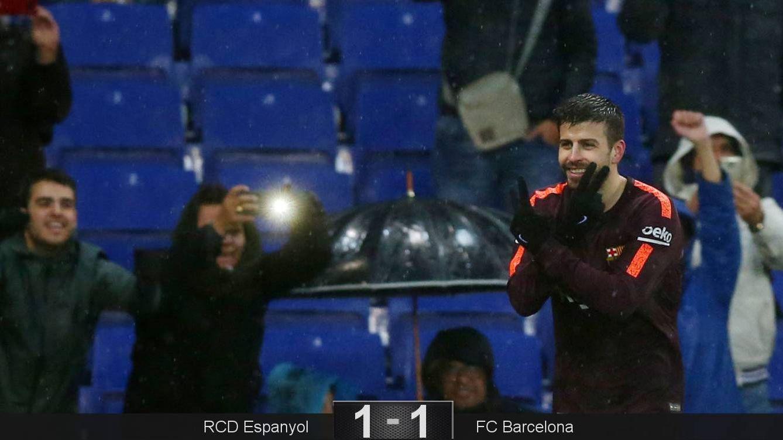 Foto: Así celebró Piqué su gol en el Espanyol-FC Barcelona. (Reuters)