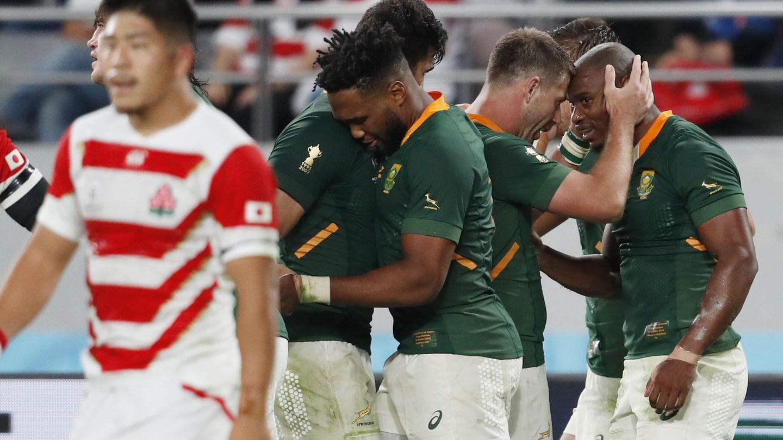 Sudáfrica celebra un tanto ante Japón, la gran sorpresa del Mundial. (Reuters)