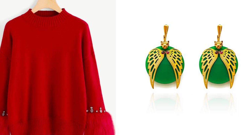 Rojo de SheIn (23 €) y pendientes con motivo animal print de Daixa Somed (199 €).