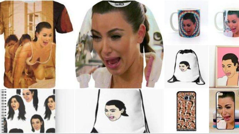Algunos de los objetos con la cara de Kim Kardashian llorando.