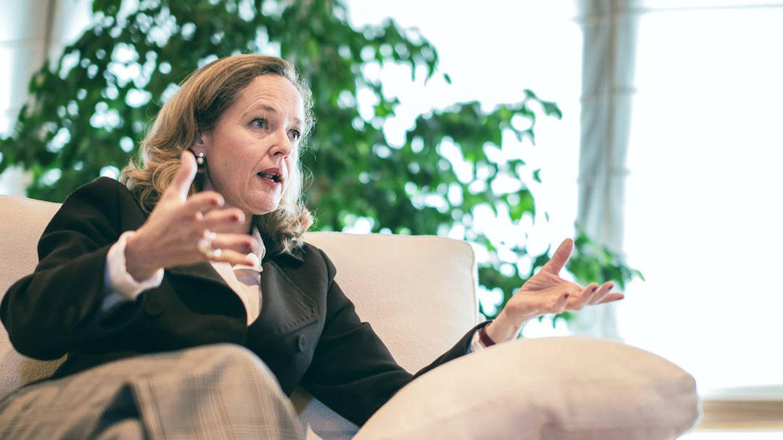 Nadia Calviño durante la entrevista. (Jorge Álvaro Manzano)