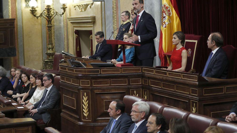 Foto: El rey Felipe VI durante el discurso que pronunció en el Congreso de los Diputados. (EFE)
