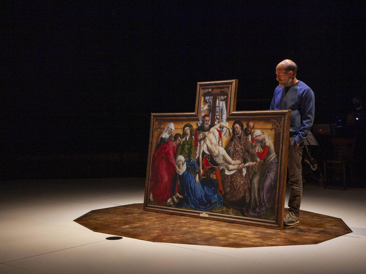 Foto: Emilio Tomé en 'Descendimiento', de Carlos Marquerie. Teatro de La Abadía.