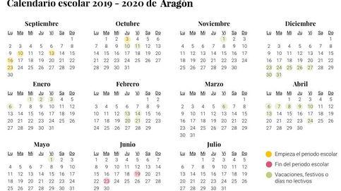 Calendario escolar de Aragón para el curso 2019-2020: vaciones, festivos y no lectivos