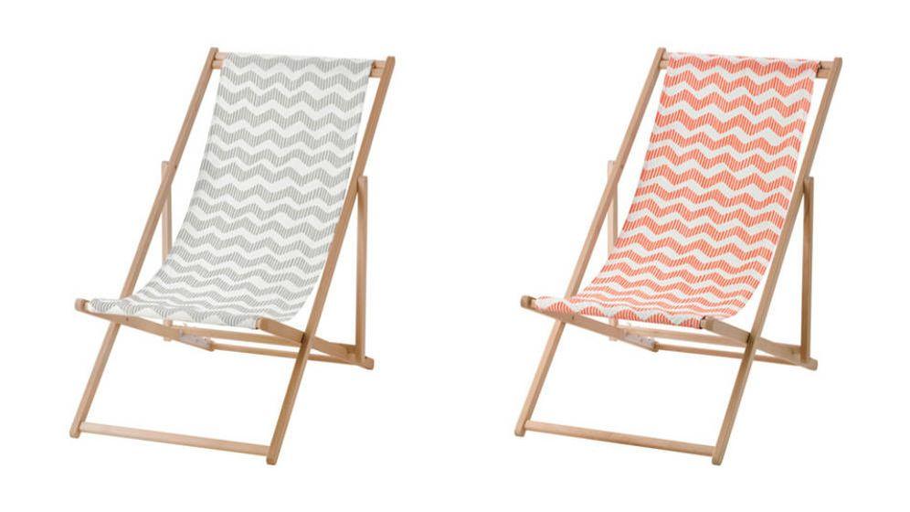 foto dos sillas de playa mysings en negro y naranka ikea
