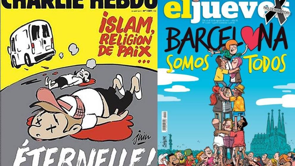 Aplausos a la portada de 'El Jueves' y críticas a 'Charlie Hebdo'