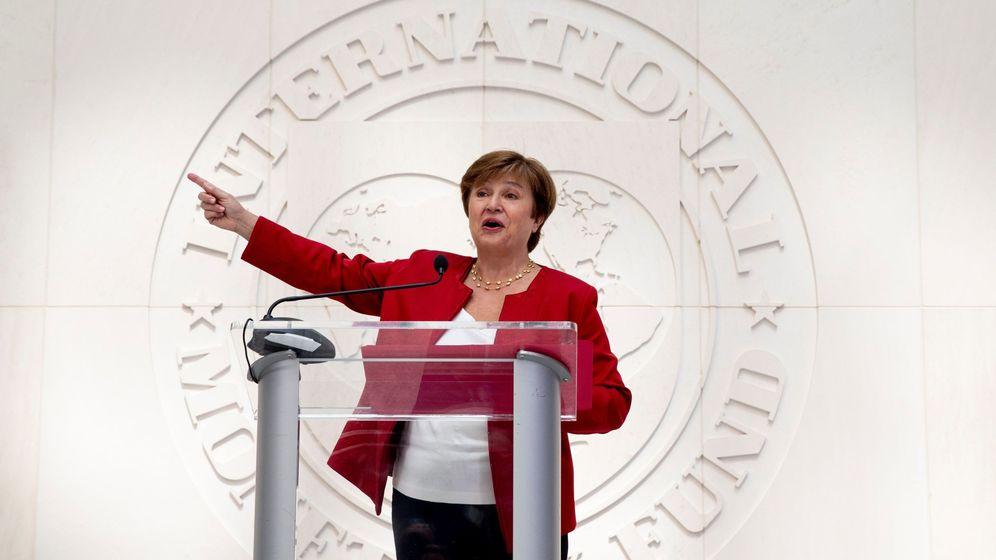 Foto: La directora del FMI, Kristalina Georgieva, en un discurso en la sede de la entidad en Washington. (Reuters)