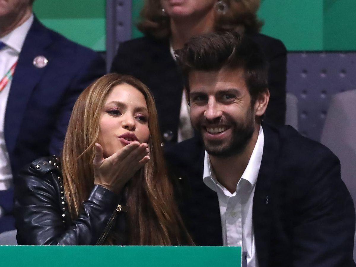 Foto:  Shakira y Gerard Piqué, en un partido de la Copa Davis. (Getty)