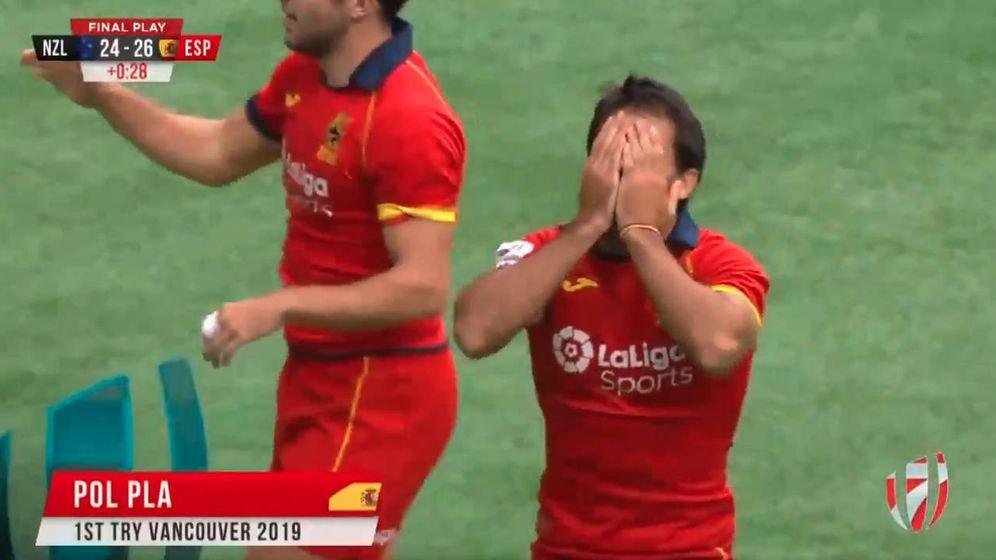 Foto: Pol Pla anotó el ensayo de la victoria ante Nueva Zelanda. (World Rugby 7)