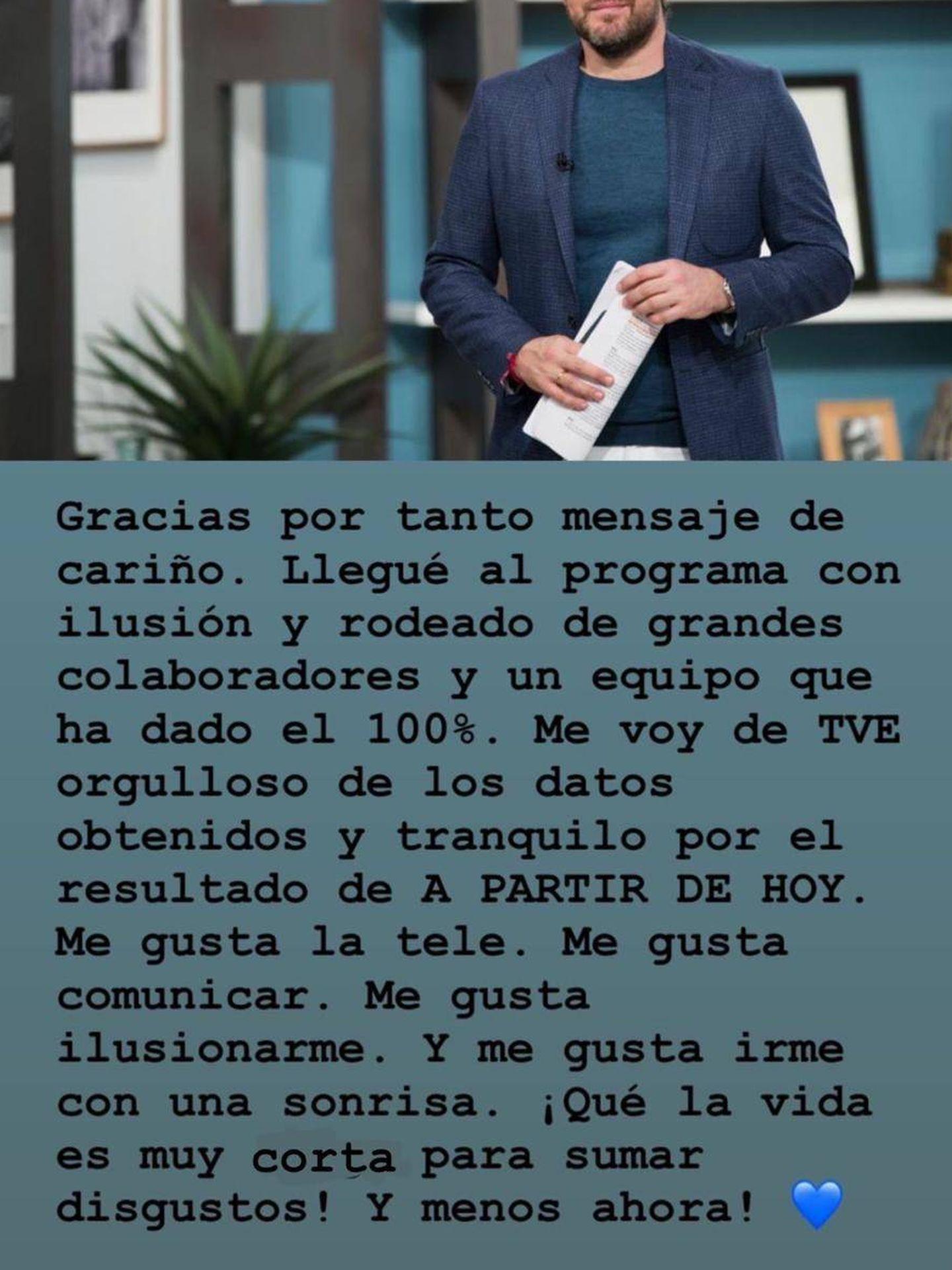 Máximo Huerta y su despedida del programa en Instagram.