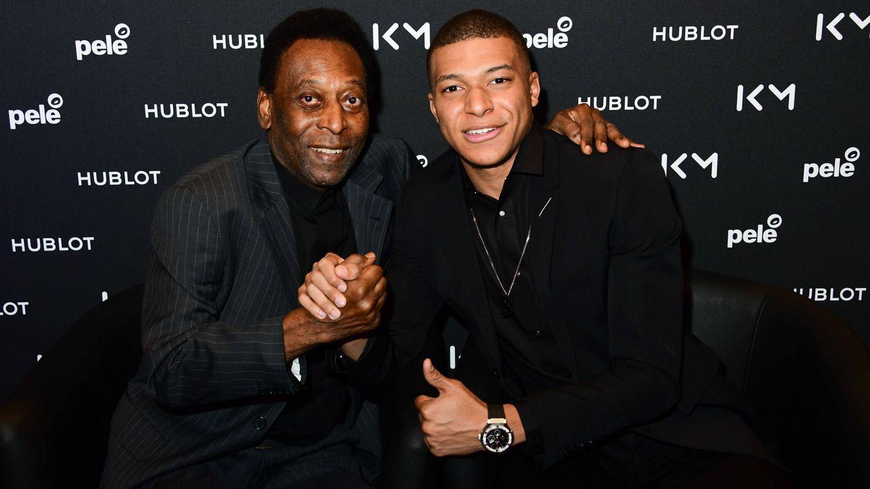 Foto: Pelé y Kylian Mbappé, en el encuentro organizado por Hublot.