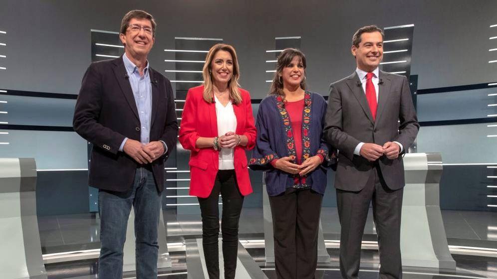 Foto: Los candidatos a presidir la Junta de Andalucía, durante un debate electoral.