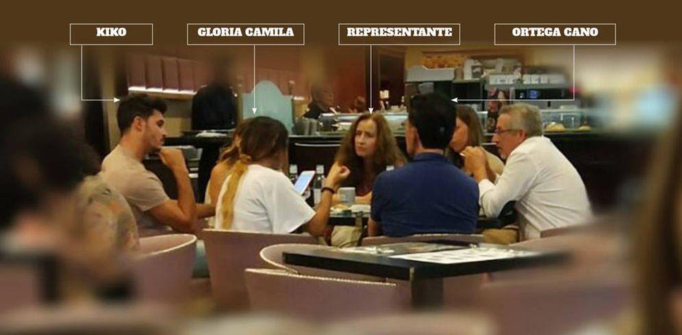 Foto: Kiko, Gloria Camila, Ortega Cano y la representante en un bar de La Moraleja. (Vanitatis)